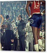 Red Auerbach Talks With Ref Acrylic Print by Retro Images Archive
