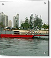 Red Barge Acrylic Print