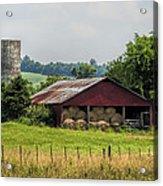 Red Barn And Bales Of Hay Acrylic Print