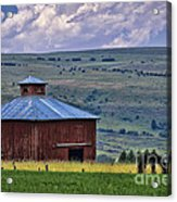 Red Barn And Barbed Wire Acrylic Print