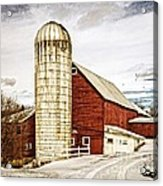 Red Barn And Silo Vermont Acrylic Print
