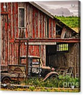 Red Barn And Truck In The Palouse Acrylic Print