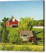 Red Barn And Water Mill On Farm In Maine Acrylic Print