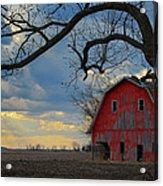 Red Barn At Sunset Acrylic Print