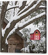 Red Barn Birdhouse On Tree In Winter Acrylic Print