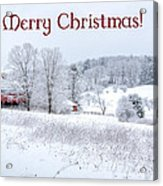 Red Barn Christmas Card Acrylic Print