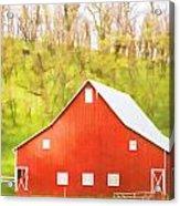 Red Barn Green Hillside Acrylic Print