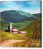 Red Barn Hillside Farm Acrylic Print