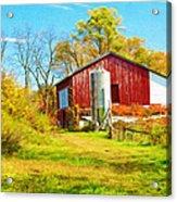 Red Barn In Autumn Acrylic Print