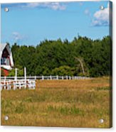 Red Barn In Meadow, Knowlton, Quebec Acrylic Print