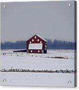 Red Barn In The Snow - Gettysburg Acrylic Print