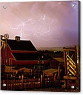 Red Barn On The Farm And Lightning Thunderstorm Acrylic Print by James BO  Insogna