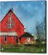 Red Barn Rear View Photo Art 03 Acrylic Print