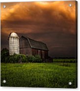 Red Barn Stormy Sky - Rustic Dreams Acrylic Print