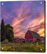 Red Barn Sunset 2 Acrylic Print