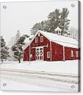 Red Barn Winterscape Acrylic Print