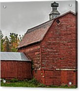 Red Barn With Fall Colors Acrylic Print