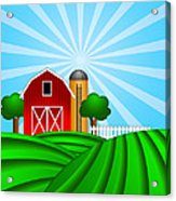 Red Barn With Grain Silo On Green Pasture Illustration Acrylic Print