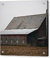 Red Barn With Medieval Silo  Acrylic Print