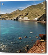 Red Beach Santorini Acrylic Print