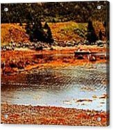Red Boat At Low Tide Triptych Acrylic Print
