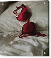 Red Brassiere Lay On Bed Acrylic Print