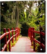 Red Bridge In Southern Plantation Acrylic Print