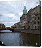 Red Bridge View - St. Petersburg - Russia Acrylic Print