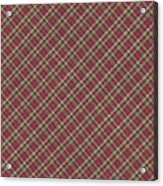 Red Brown And Green Diagonal Plaid Pattern Fabric Background Acrylic Print