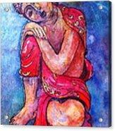 Red Buddha Resting Acrylic Print