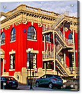 Red Building On Water Street In Saint John's-nl Acrylic Print