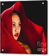 Red Burlap Acrylic Print