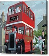 Red Bus Stop Queue Acrylic Print by Martin Davey