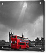 Red Bus Acrylic Print by Svetlana Sewell