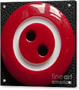 Red Button Close Up Acrylic Print