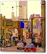 Red Cab On Gerrard Chinatown Morning Toronto City Scape Paintings Canadian Urban Art Carole Spandau Acrylic Print