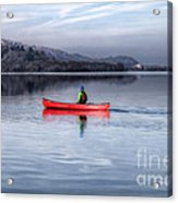Red Canoe Acrylic Print by Adrian Evans