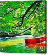 Red Canoe Acrylic Print by Elizabeth Coats