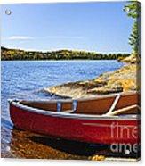 Red Canoe On Shore Acrylic Print