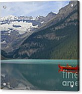 Red Canoes On Lake Louise Acrylic Print