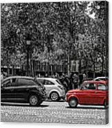 Red Car In Paris Acrylic Print