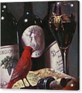Red Cardinal With Red Wine 2 Acrylic Print