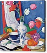 Red Chair And Tulips, C.1919 Acrylic Print