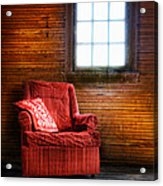 Red Chair In Panelled Room Acrylic Print