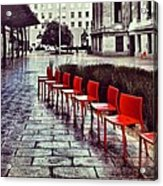 Red Chairs At Mint Plaza Acrylic Print