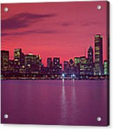 Red Chicago Sunset Acrylic Print