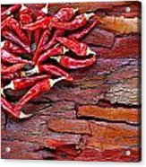 Red Chillies On Rustic Background Acrylic Print