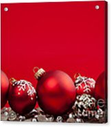 Red Christmas Baubles And Decorations Acrylic Print