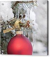 Red Christmas Ornament On Snowy Tree Acrylic Print