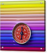 Red Compass On Rolls Of Colored Pencils Acrylic Print